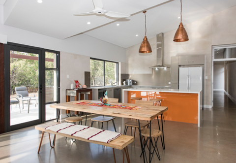 Mudgee Hempcrete House kitchen and dining area