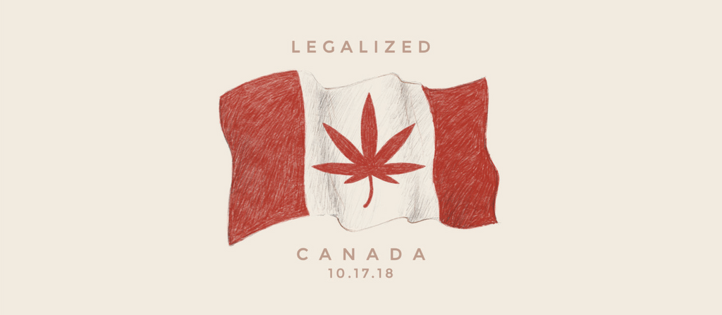 Drawing of Canadian Flag with Cannabis leaf for legalization