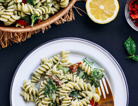 hemp pasta with creamy hemp pesto