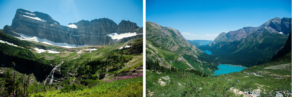 Left: The top of Grinnell Glacier in Montana. Right: A shot downstream of three of the lakes this glacier's melting ice feeds.