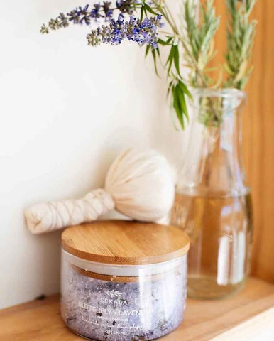 Sekala lavender salts and CBD hemp muslin compress
