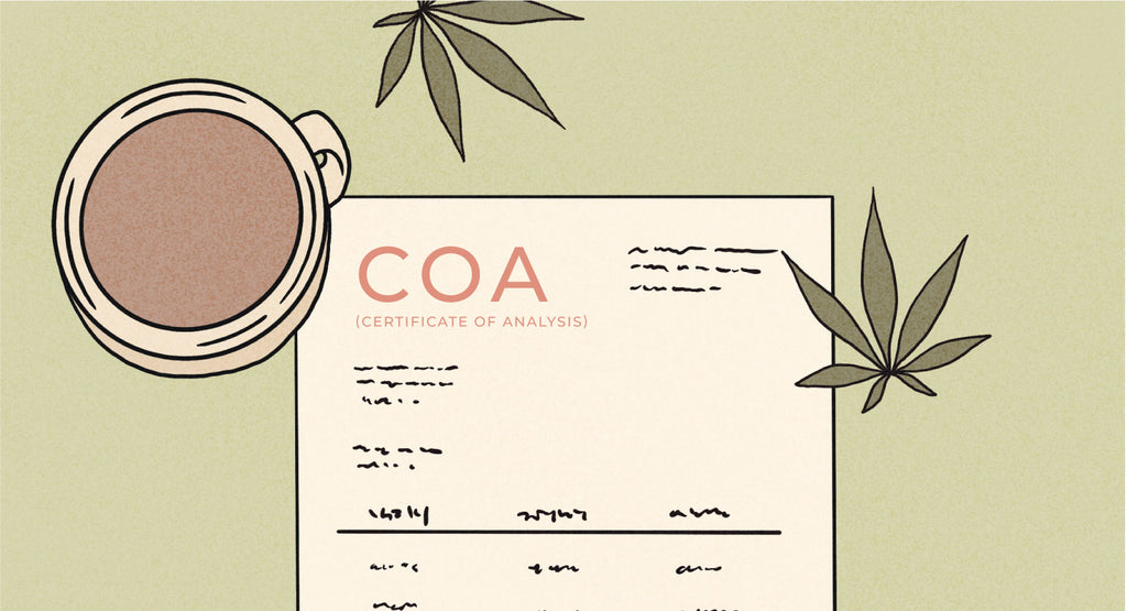 COA Illustration with a coffee mug next to it and hemp leaves