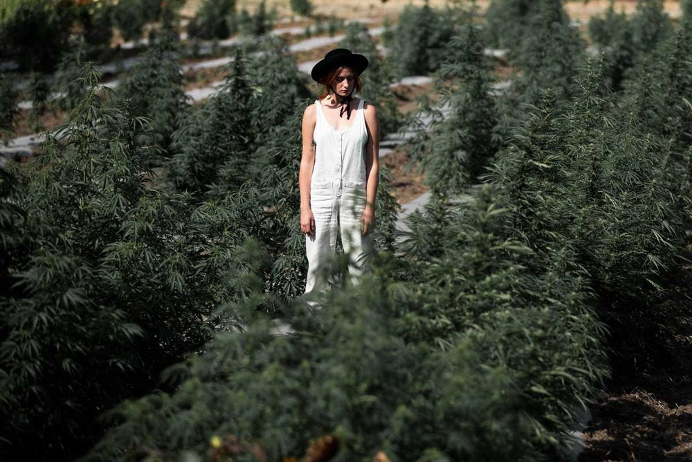 Courtney Coll modeling hemp clothing in Hemp Field