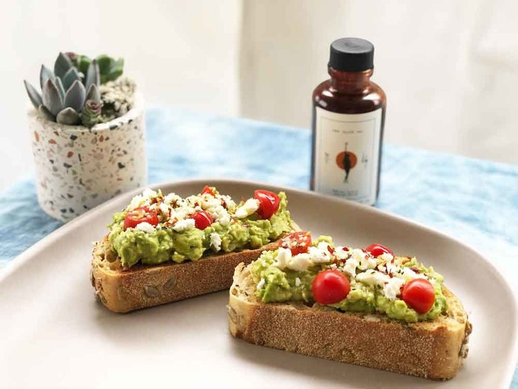 Avocado toast with Wonder Valley CBD Olive Oil