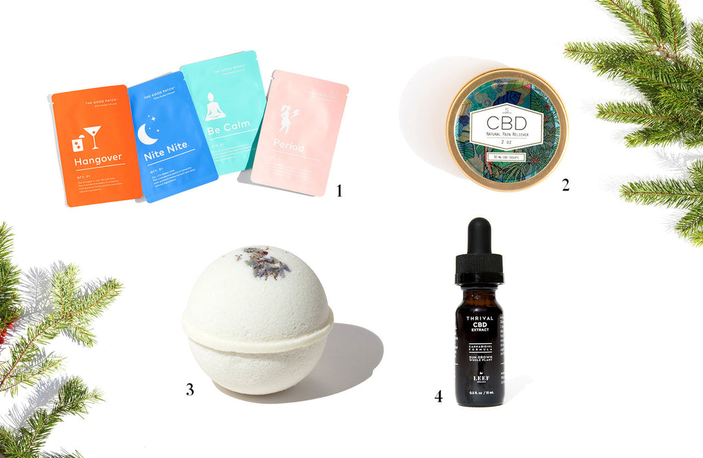 Collage of 7 CBD Stocking Stuffers