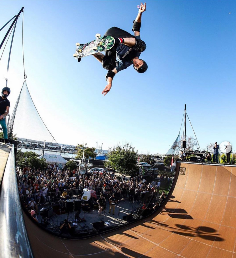 Canna Hemp X ambassador professional skateboarder Tony Hawk on skate ramp
