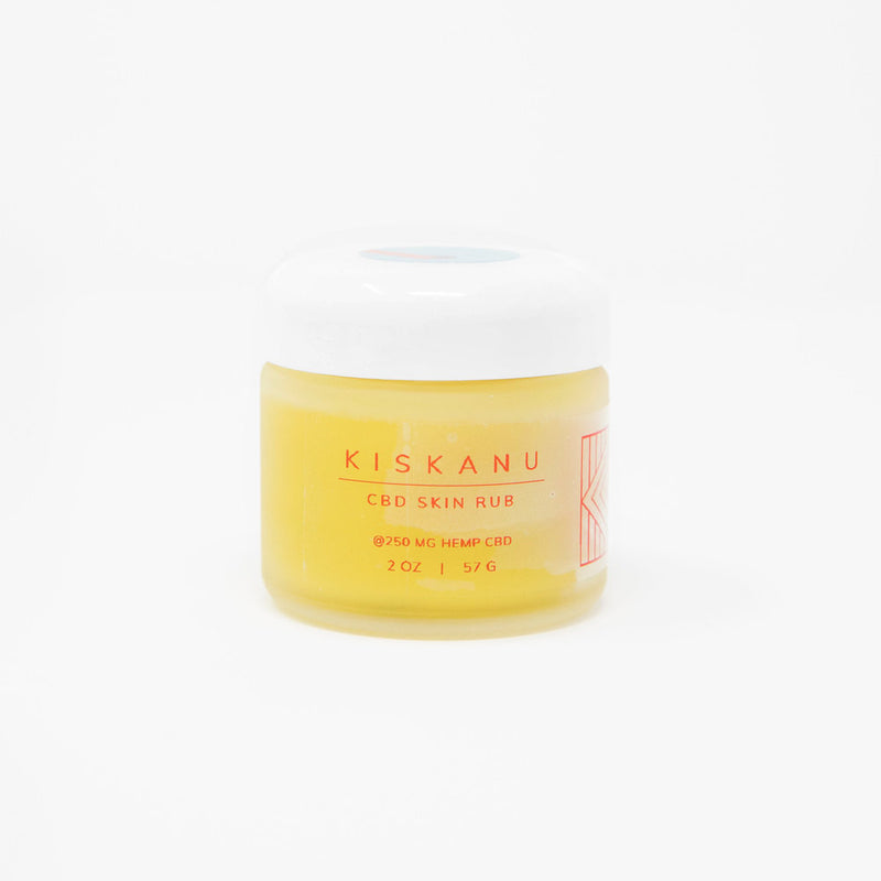 Kiskanu CBD Skin Rub 250MG Hemp CBD front bottle view by Svn Space.