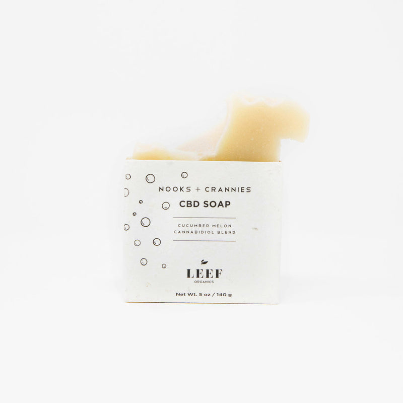 LEEF Organics Nooks + Crannies CBD Soap Cucumber and Melon front view by Svn Space.