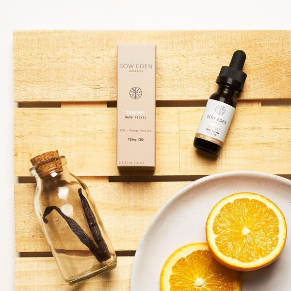 Sow Eden Comfort Evening Primrose + Orange Vanilla 750mg CBD Oil lifestyle shot by Svn Space.