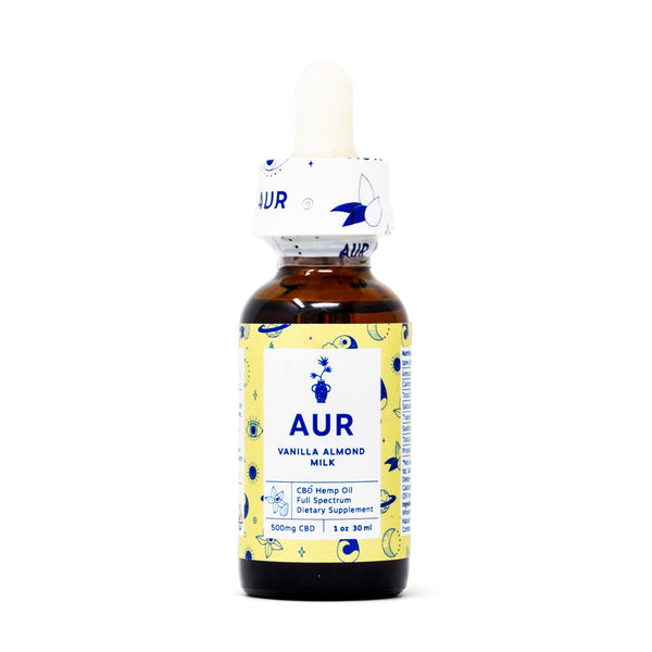 AUR Vanilla Almond Milk CBD Tincture with 500mg CBD front view by Svn Space.