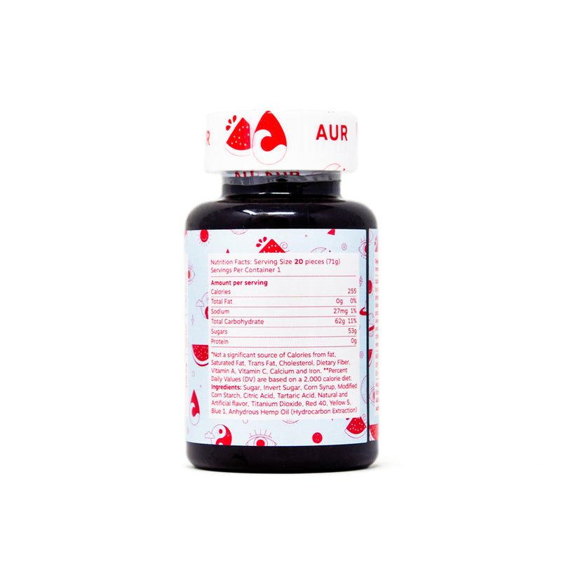 AUR Watermellow CBD Gummies with 5mg CBD back view by Svn Space.