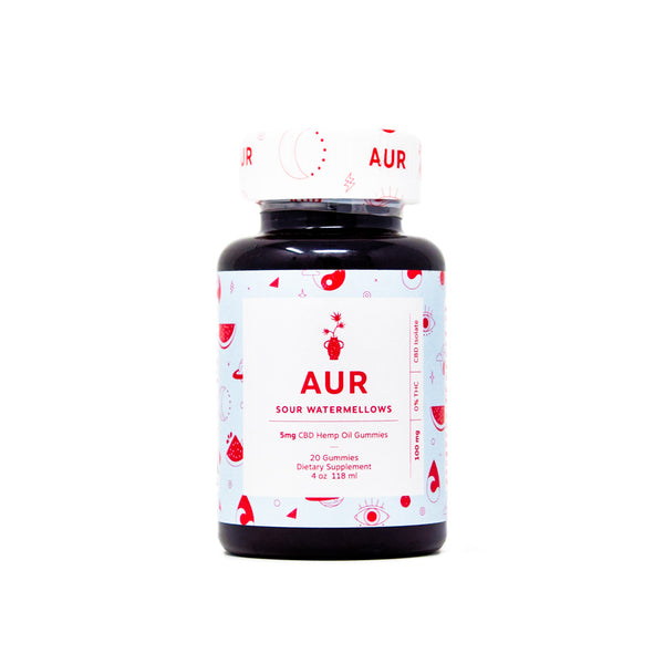 AUR Watermellow CBD Gummies with 5mg CBD front view by Svn Space.