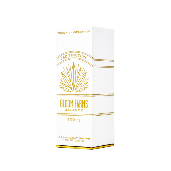 Bloom Farms Balance 300mg CBD Tincture front box view by Svn Space.