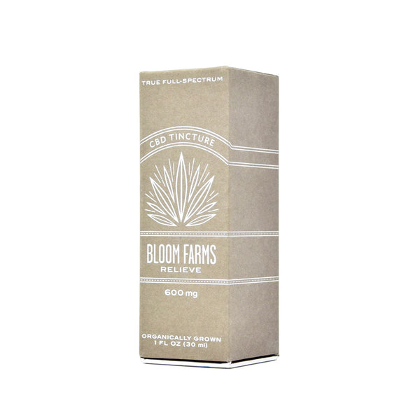 Bloom Farms Relieve CBD Tincture front view by Svn Space.