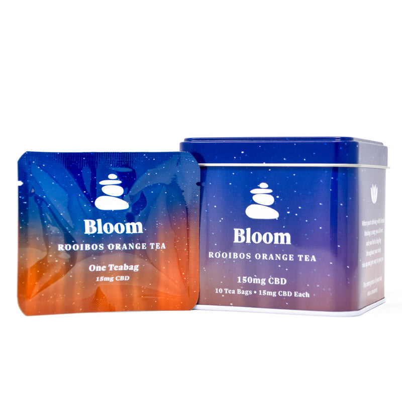Lagom Bloom Orange Rooibos Tea with 15mg CBD front view by Svn Space.