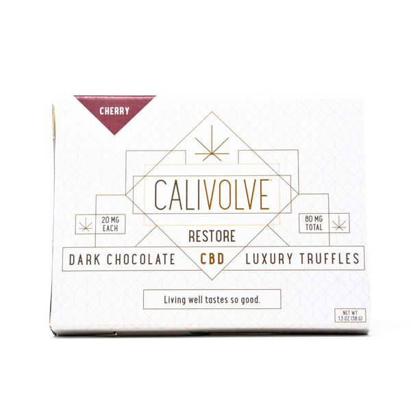 Calivolve Restore CBD Cherry Chocolate with 80mg CBD front view by Svn Space.
