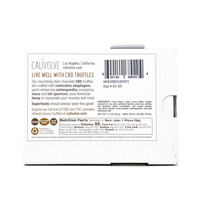 Calivolve Restore CBD Matcha Chocolate with 80mg CBD back view by Svn Space.