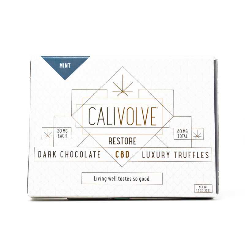 Calivolve Restore CBD Mint Chocolate with 80mg CBD front view by Svn Space.