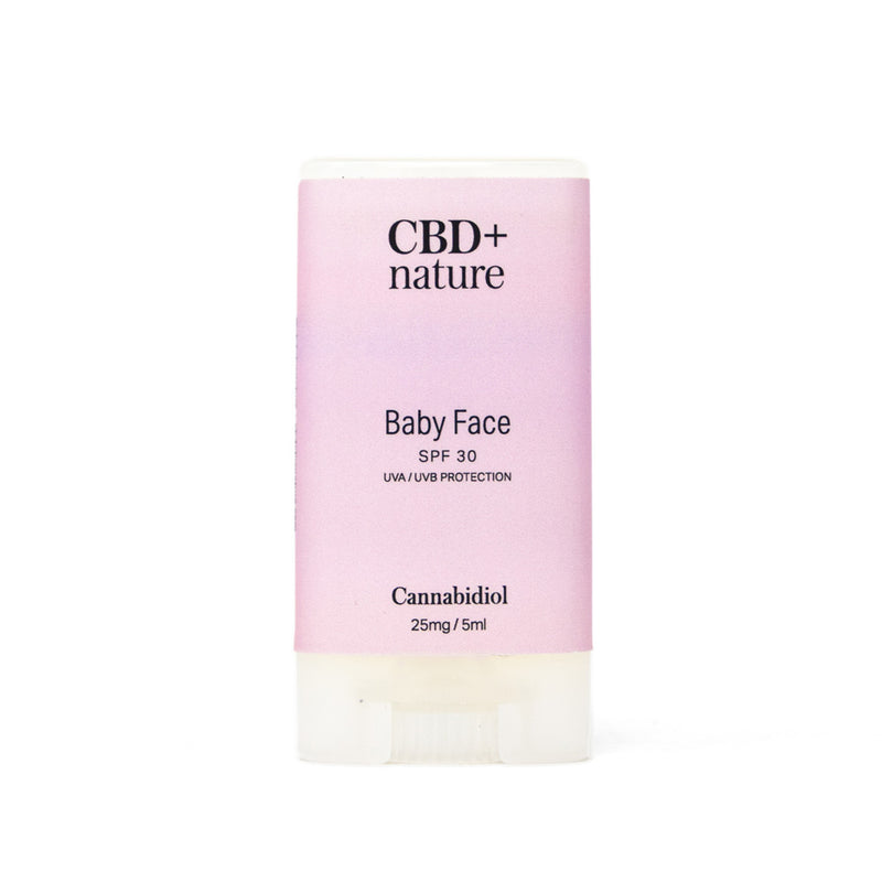 CBD+nature Baby Face Sunscreen SPF 30, 25mg CBD front bottle view by Svn Space.