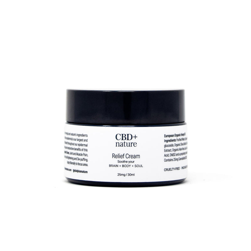 CBD+nature Relief Cream with 25mg CBD front view by Svn Space