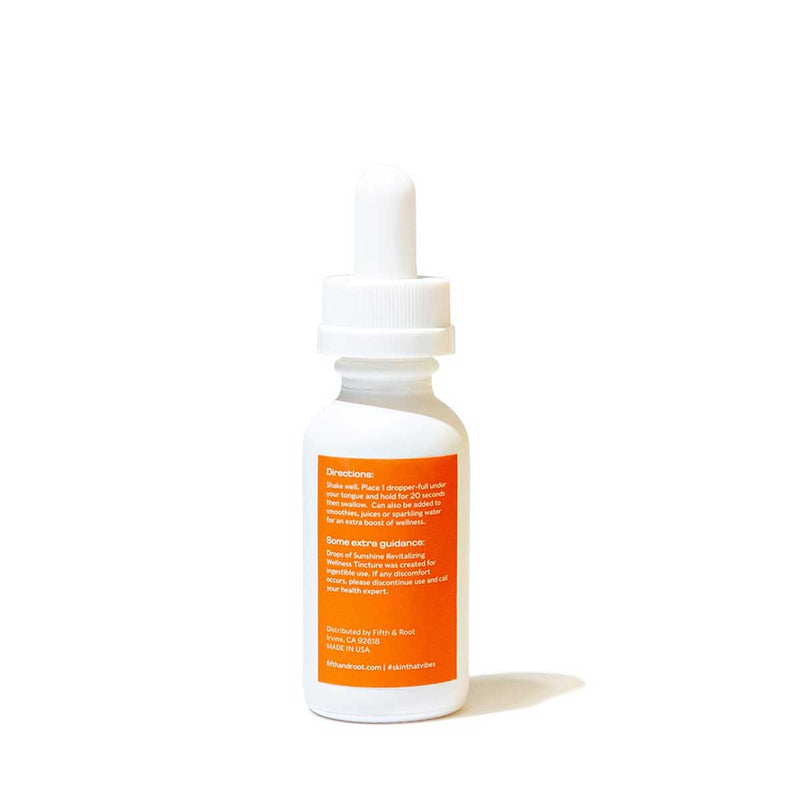 Drops of Sunshine Revitalizing Wellness Tincture back of bottle