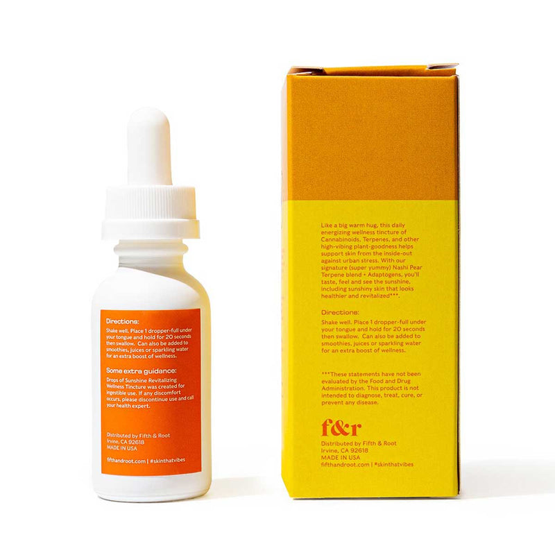 Drops of Sunshine Revitalizing Wellness Tincture Back of packaging