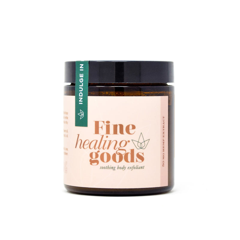 Fine Healing Goods Soothing Body Exfoliant with 600mg CBD front view by Svn Space.