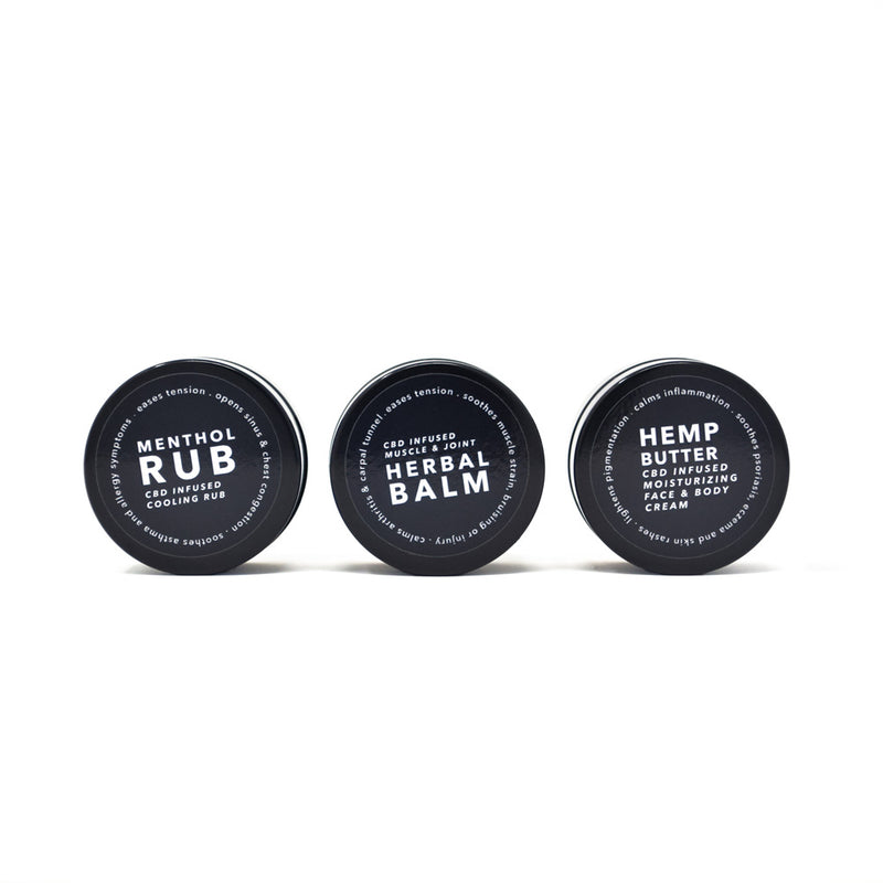 Gara Skincare Three Piece CBD Beauty Travel Set front view of all three jars by Svn Space.