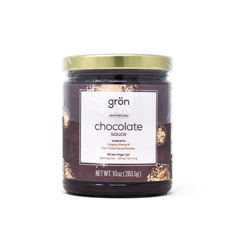 Gron Chocolate Sauce with 240mg CBD front view by Svn Space.