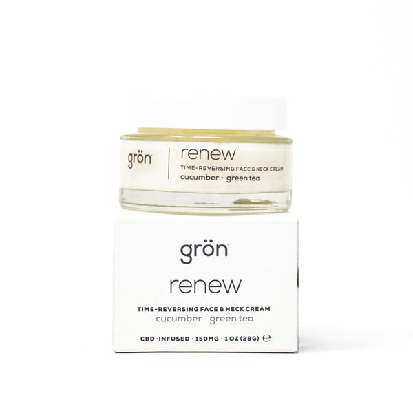 Gron Renew: Time-Reversing Face and Neck Cream with 150mg CBD full front view by Svn Space.