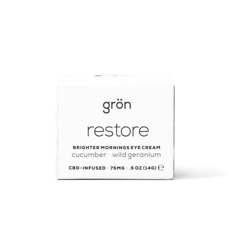 Gron Restore: Brighter Mornings CBD Eye Cream with 150mg CBD front view by Svn Space.