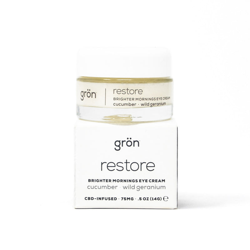 Gron Restore: Brighter Mornings CBD Eye Cream with 150mg CBD full front view by Svn Space.