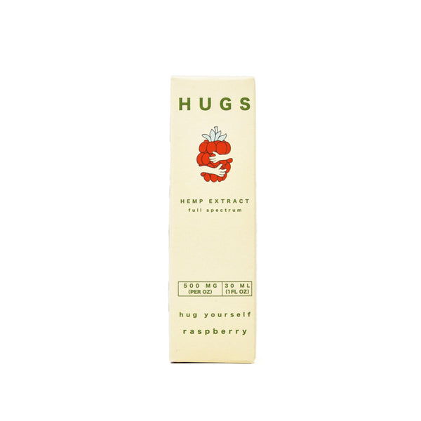 Hugs Full Spectrum 500mg CBD Oil Rasberry Flavored front view by Svn Space.