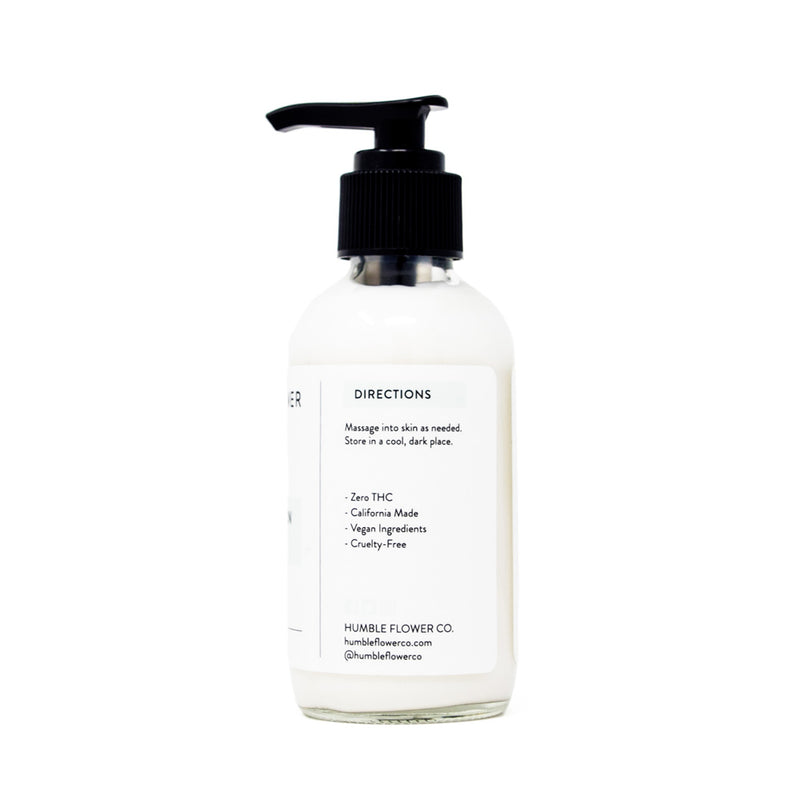 Humble Flower Co Soothing Lotion Unscented with 200mg CBD side view by Svn Space.