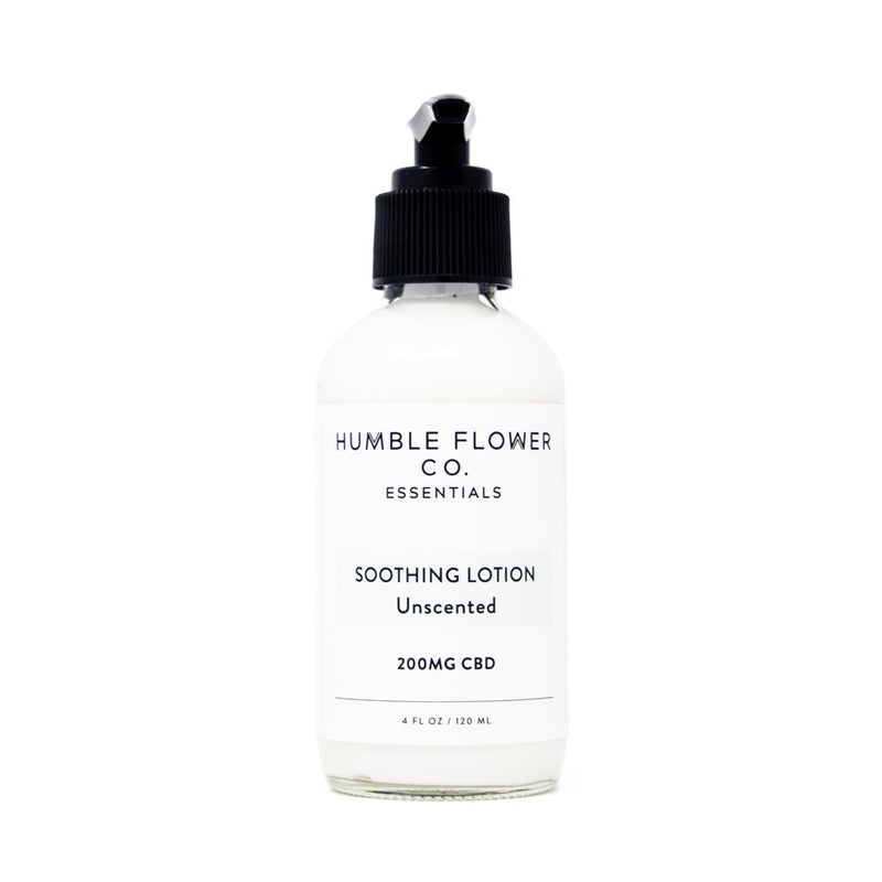 Humble Flower Co Soothing Lotion Unscented with 200mg CBD front view by Svn Space.