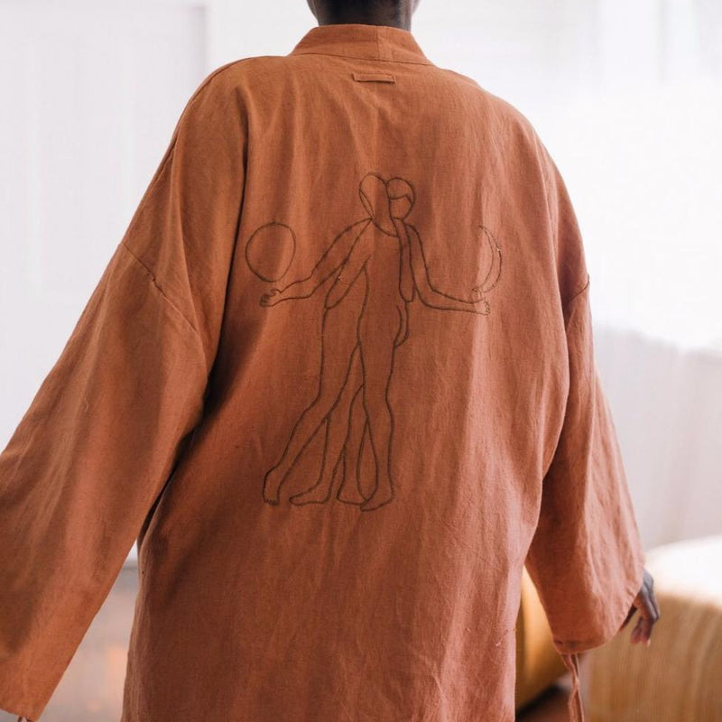 Backside of girl wearing 'The Lovers' Kimono by The Hemp Temple, Svn Space.