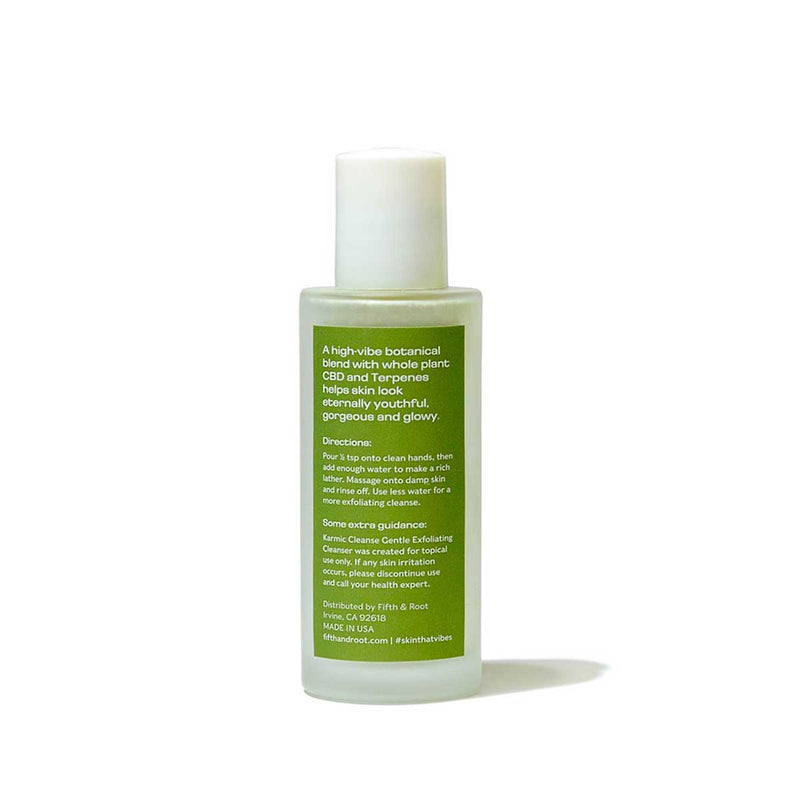 Karmic Cleanse Gentle Exfoliating Cleanser back of bottle