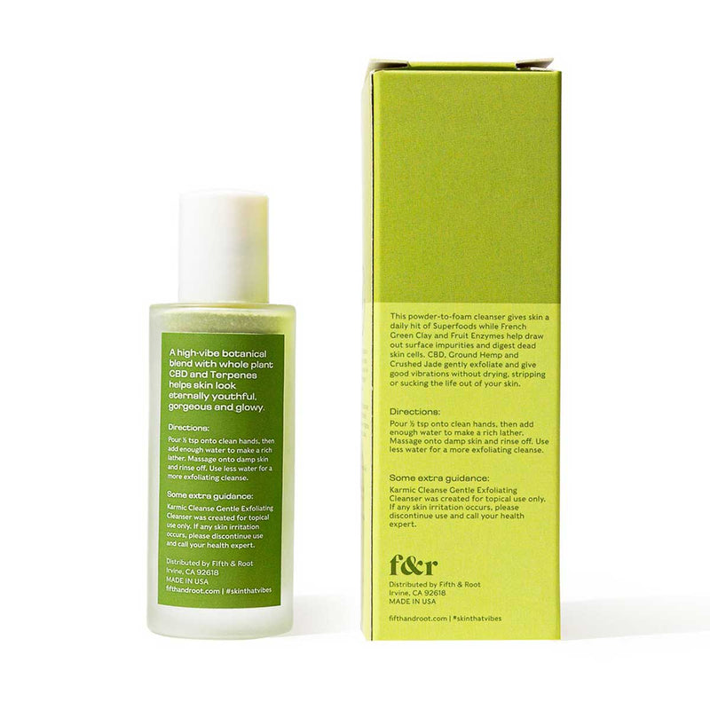 Karmic Cleanse Gentle Exfoliating Cleanser back of packaging
