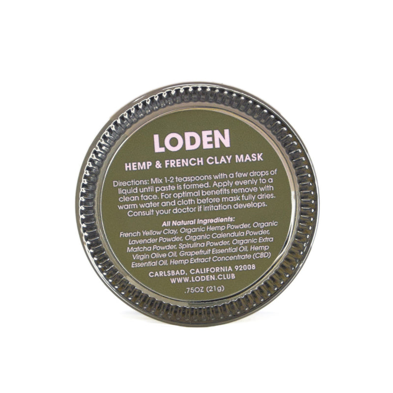 Loden Hemp + French Clay Mask with 100mg CBD label view by Svn Space.