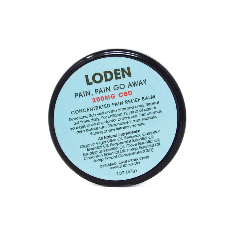 Loden Pain, Pain Go Away 200mg CBD Balm front view by Svn Space.