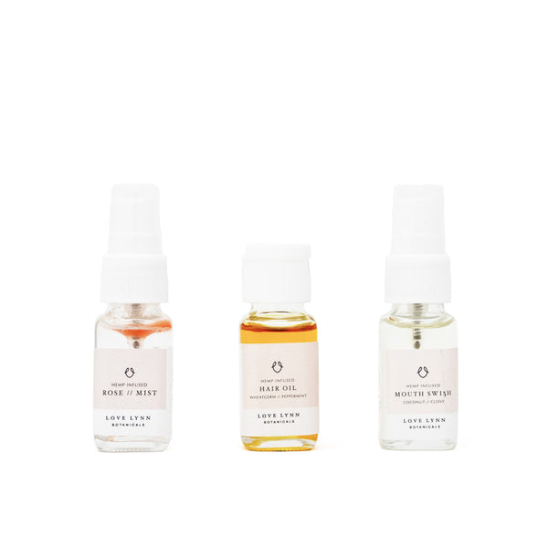 Love Lynn Botanicals CBD Beauty Travel Set front view by Svn Space.