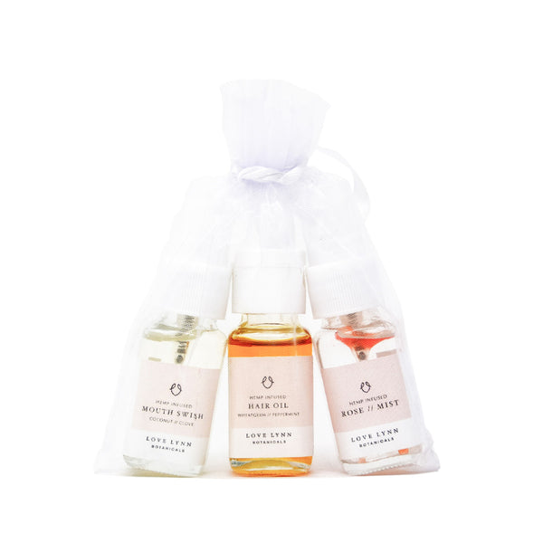 Love Lynn Botanicals CBD Beauty Travel Set front view in bag by Svn Space.