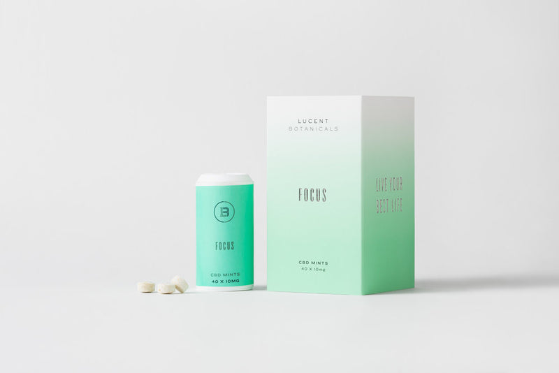 Lucent Botanicals Focus Mints with 10mg CBD full front view by Svn Space.