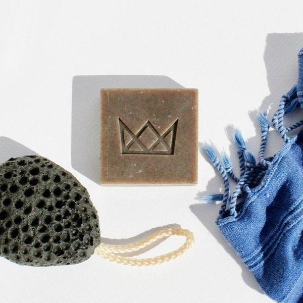 Flynn & King Dope Matcha Green Tea Soap with Hemp Seed Oil styled shot of unwrapped soap bar by Svn Space.