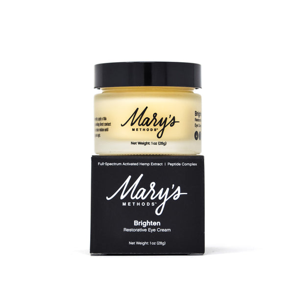 Mary's Methods Brighten Restorative Eye Cream with 50mg CBD full front view by Svn Space.