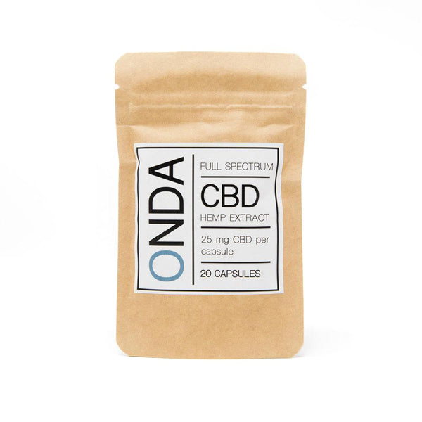 Onda CBD Full Spectrum Oil Capsules 25mg front view by Svn Space.
