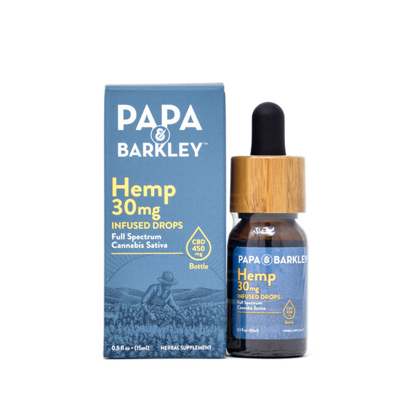 Papa & Barkley Hemp Infused Drops with 450mg CBD full front view of 15ml bottle by Svn Space.