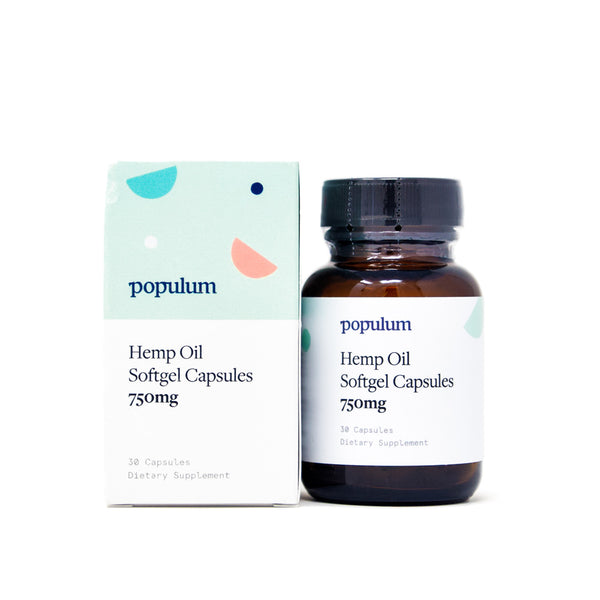 Populum Hemp Oil Softgel Capsules with 750mg CBD full front view by Svn Space.