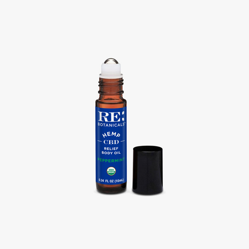Re: Botanicals Peppermint CBD Relief Body Oil bottle without cap by Svn Space.