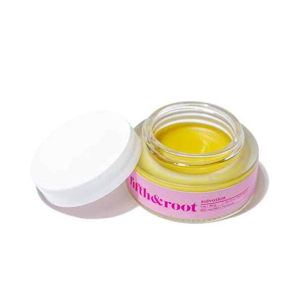 Salvation All-Over CBD Salve open container